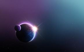 Картинка космос, звезды, планета, спутник, арт