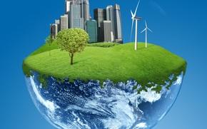 Обои мир, электроэнергия, планета