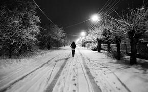 Картинка зима, белый, девушка, снег, деревья, Улица, фонари