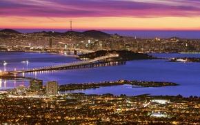 Обои небо, вода, закат, ночь, город, здания, ночной город, высокие
