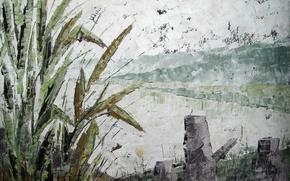Картинка пейзаж, озеро, картина, живопись