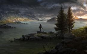 Картинка деревья, горы, река, человек, меч, воин, арт, щит, сумерки, Skyrim, нарисованный пейзаж