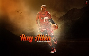 Картинка Мяч, Спорт, Баскетбол, Фон, NBA, Miami Heat, Игрок, Ray Allen