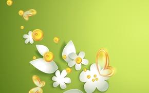 Картинка бабочки, цветы, зеленая абстракция