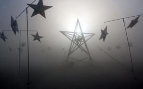 Картинка туман, свет, звезды