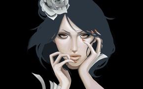 Обои naruto, konan, akatsuki, девушка, цветок, листы