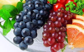 Картинка виноград, помидоры, грейпфрут