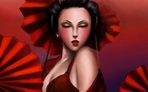 Обои девушка, лицо, красное, арт, гейша, зонты, Lilyzou