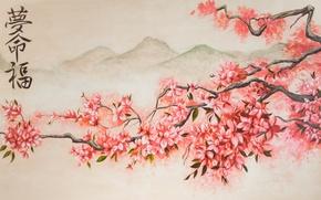 Обои цветение, весна, горы, арт, сакура