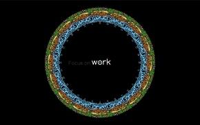 Картинка узоры, круг, Черный фон, focus on work