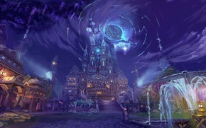 Картинка небо, вода, свет, ночь, город, фантастика, дома, арт, фонари, фонтан, art