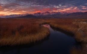 Картинка закат, горы, река