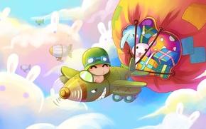 Обои арт, подарки, пилот, полёт, зайка, мешок, детская, самолётик