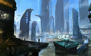 Обои небоскребы, мегаполис, здание, будущее, люди, город