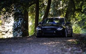 Картинка Audi, black, front, wagon, stance, avant