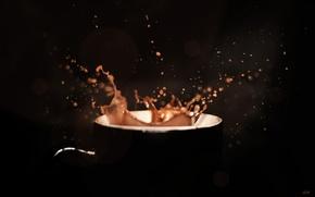 Картинка капли, брызги, кофе, минимализм, чашка, напиток, чёрный фон