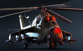 Картинка арт, ОКБ М. Л. Миля, ГШ-30К, Роствертол, модернизированный вариант, 30-мм, ударный вертолёт, экспортный вариант, Ми-24П, …