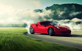 Картинка Alfa Romeo, Red, Car, Miami, Sport, Drifting