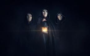 Обои фигуры, фонарь, маски, тьма, свет