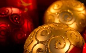 Картинка макро, шары, игрушки, новый год, рождество, украшение