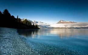 Обои облака, озеро, горы, камни, деверья