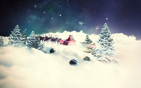 Картинка зима, елки, новый год, сани, олени, санта