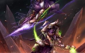 Обои битва, жезл, магия, горы, starcraft 2