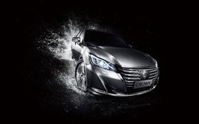 Обои черный фон, Crown, Toyota, краун, тойота