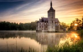 Картинка небо, озеро, замок, Бельгия, horst castle