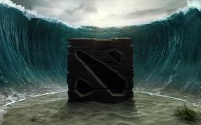 Картинка море, вода, краб, дно, арт, куб, крабик, Dota 2