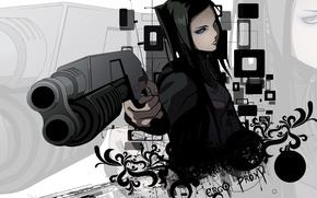 Картинка оружие, фон, чёрный, эрго прокси, ergo proxy, re-l mayer