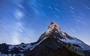 Картинка небо, звезды, горы, ночь, гора, вершина, Маттерхорн