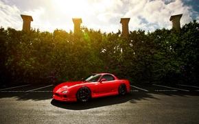 Картинка солнце, колонны, red, Mazda, блик, красная, front, мазда, RX-7