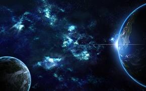 Картинка восход, планеты, звёзды, галактики, планета Земля