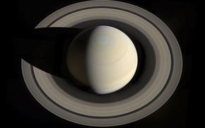 Картинка космос, планета, кольца, Сатурн