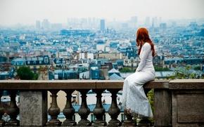Картинка Париж, вид, платье, рыжеволосая девушка