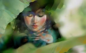Картинка зелень, листья, арт, нарисованная девушка