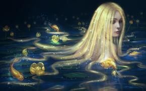Картинка взгляд, вода, девушка, рыбки, русалка, арт, длинные волосы, золотые