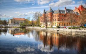 Картинка деревья, дома, Швеция, набережная, дворец, башенка, Эребру
