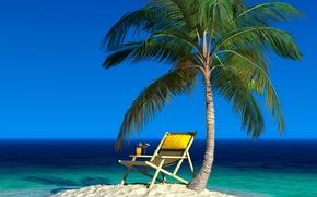 Картинка песок, море, небо, пейзаж, пальма, остров, горизонт, коктейль, лежак, напитки