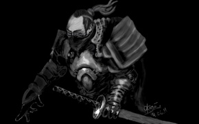 Картинка катана, Самурай, чёрный фон, тёмный