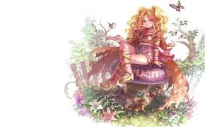 Картинка лето, девушка, цветы, фентези, магия, бабочка, эльф, гриб, забор, аниме, знаки, птичка, гном, зверюшки, белочка, …