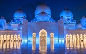 Обои UAE, подсветка, мечеть, Мечеть шейха Зайда, Sheikh Zayed Grand Mosque, Абу-Даби, ОАЭ, Abu Dhabi