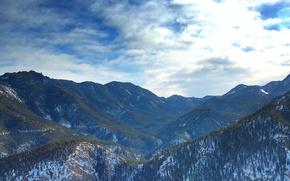 Картинка лес, облака, снег, горы
