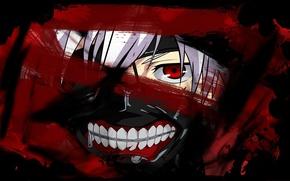 Картинка кровь, маска, белые волосы, красный глаз, Tokyo Ghoul, Kaneki Ken, Токийский Гуль, Канеки кен