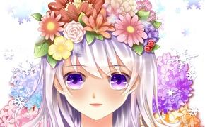 Картинка глаза, девушка, цветы, лицо, улыбка, розы, аниме, арт, yuri
