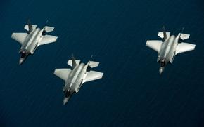 Картинка море, истребители, три, полёт, Lightning II, F-35, «Лайтнинг» II