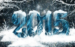 Картинка снег, сосульки, Лес, цифры, 2015
