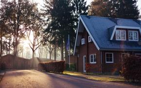 Картинка windows, house, road, trees, wood, Europe, Belgium, flag, Limburg, België, Narvik HomeParc Mooi Zutendaal, Zutendaal