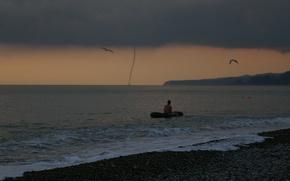 Обои море, берег, торнадо, смерч